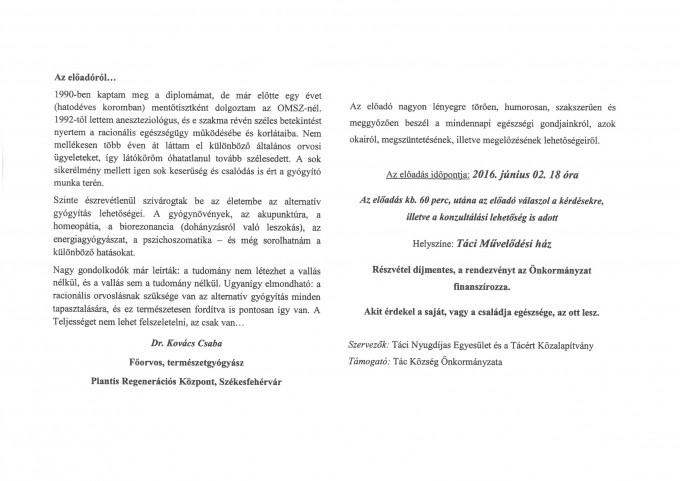 Meghívó belső oldal Dr. Kovács Csaba