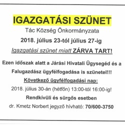 Igazgatási szünet 2018. július 23-27ig