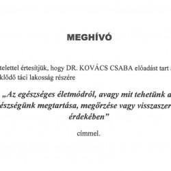 Meghívó előlap Dr. Kovács Csaba